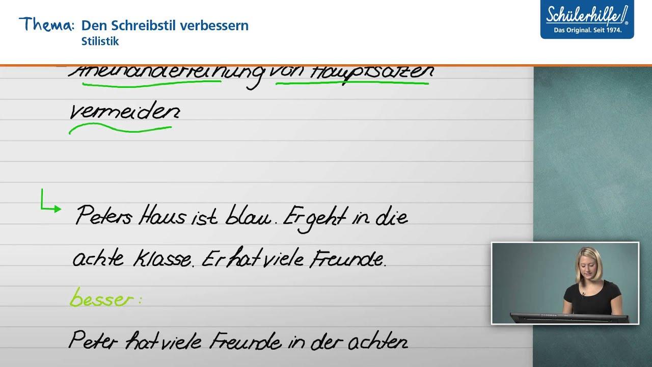 den schreibstil verbessern grammatik stil deutsch sch lerhilfe lernvideo youtube. Black Bedroom Furniture Sets. Home Design Ideas