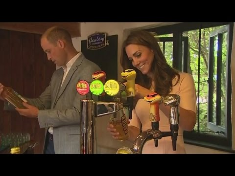 Kate pours William a perfect pint of cider