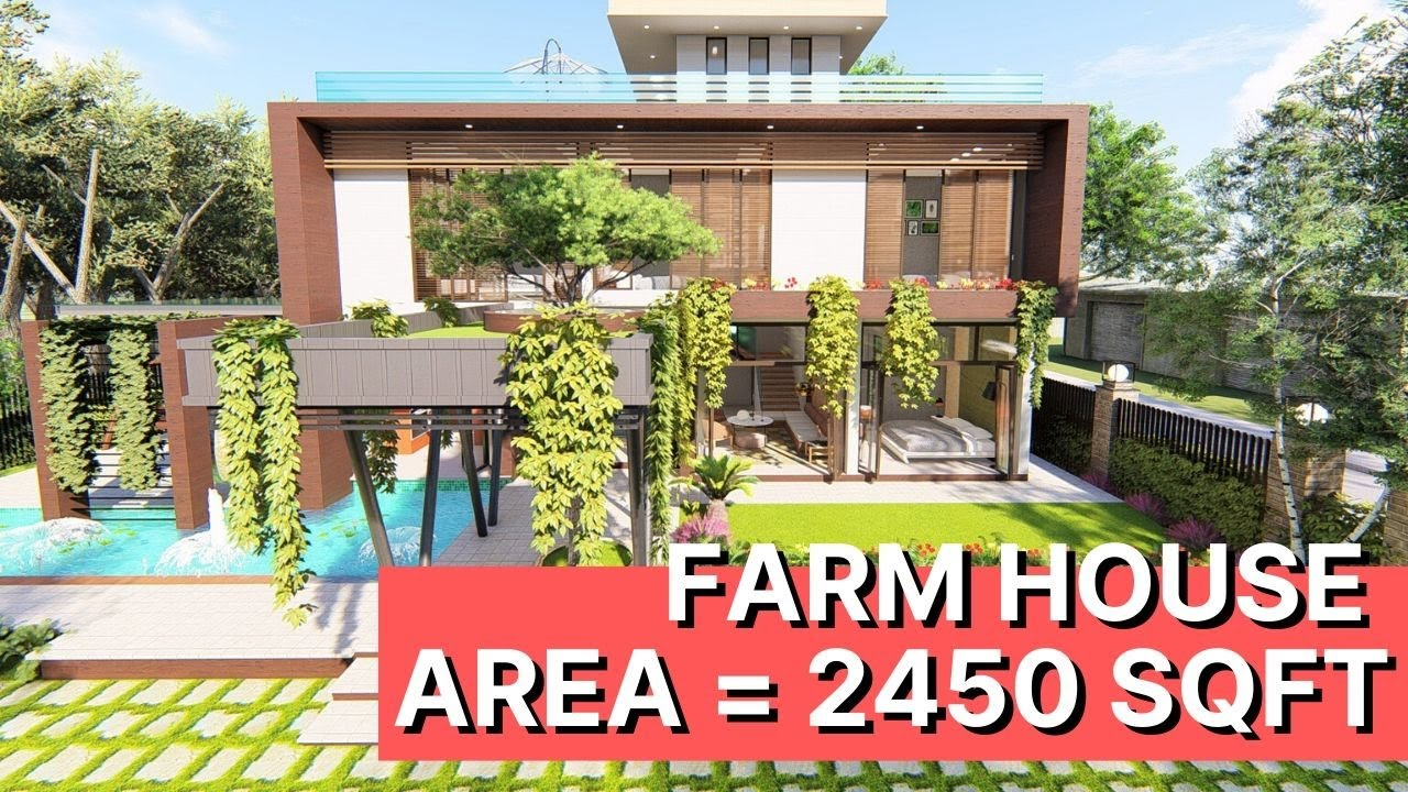 2450 Sqft Modern Farmhouse Interior Design With Swimming Pool House Landscape Design Ideas Youtube