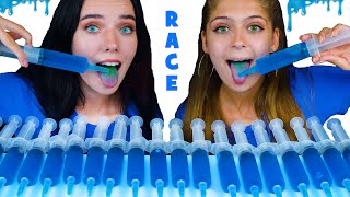 ASMR BLUE Jello Shooter Race Challenge with MOST POPULAR SOUR CANDY