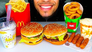 ASMR MCDONALDS VS BURGER KING BIG MAC IMPOSSIBLE WHOPPER ONION RINGS FRIES OREO MCFLURRY MUKBANG 먹방