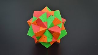 Origami: Triambic Icosahedron (Sonobe 30 units) - Instructions in English (BR)