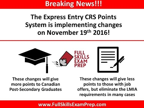Express Entry Points Change To Be Implemented November 19th 2016!