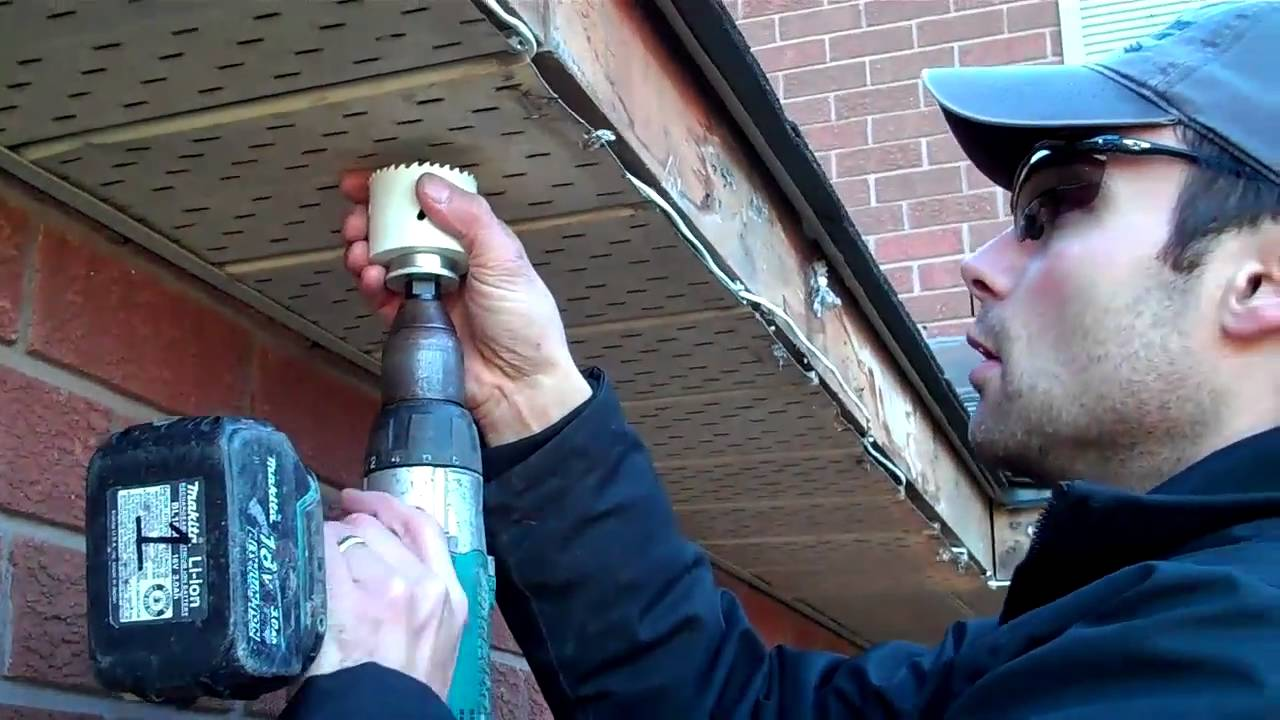 Cutting holes for led recessed soffit lighting youtube aloadofball Image collections