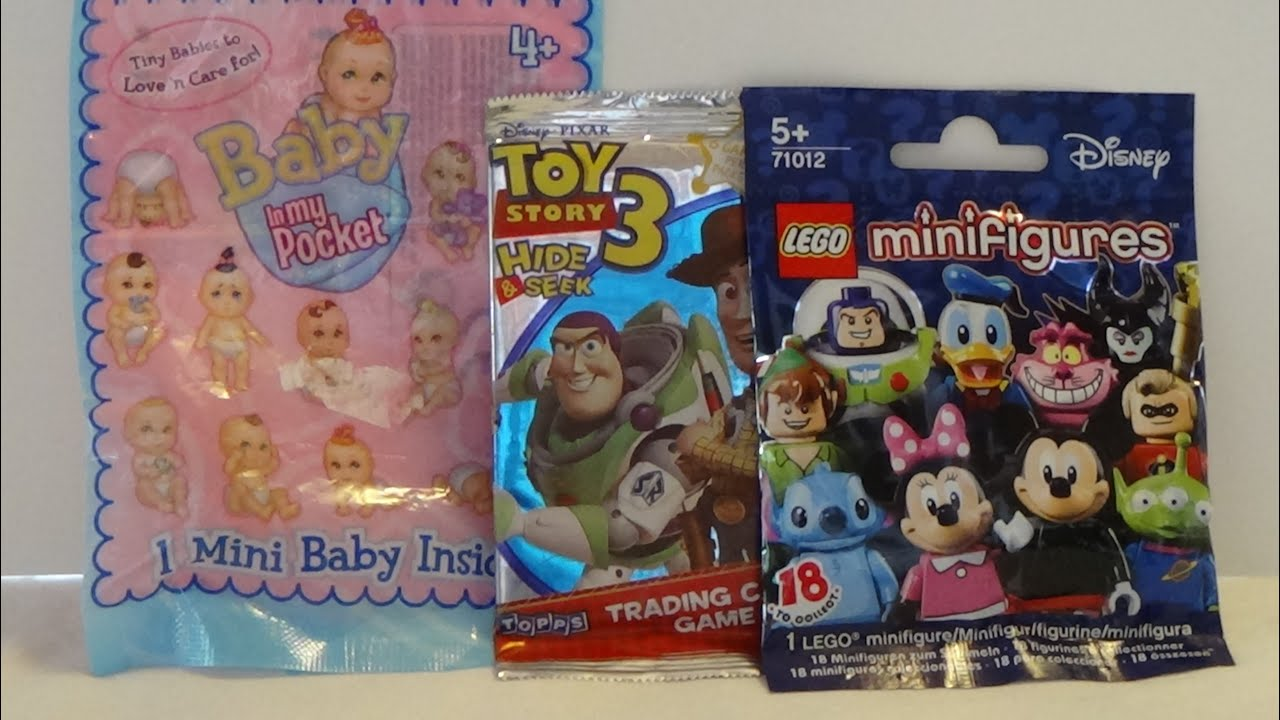 Blind Bag opening Baby in my Pocket Toy Store and Lego Disney