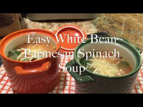 Easy White Bean Parmesan Spinach Soup