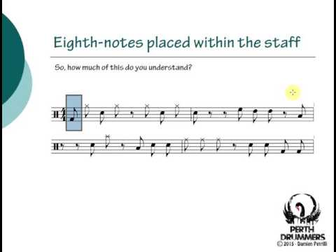 Reading Drum Notation - Lesson 3 - Eighth Notes