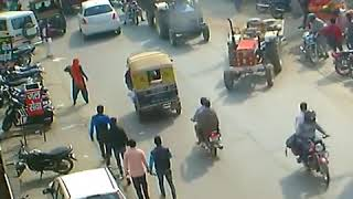 Funny tractor accident video.One tractor hits another tractor on road and its running automatically