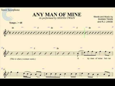 Tenor Sax - Any Man of Mine - Shania Twain - Sheet Music, Chords, & Vocals