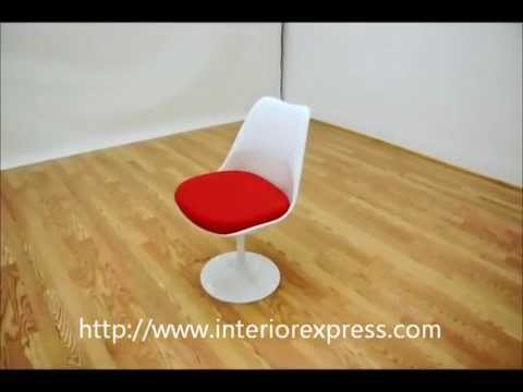 InteriorExpress Cyma White Molded Plastic Accent Chair With Red Fabric Cushion