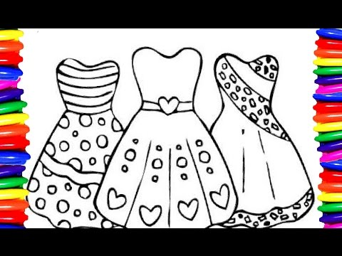Coloring Pages Girls Dress |Coloring Book| DIY|How to draw and Color easy  and simple for kids