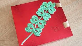 Веточка с листочками крючком  Ирландское кружево Урок 123