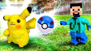Видео для мальчиков - Стив Майнкрафт ловит Пикачу! - Игра Покемон Го в реале.