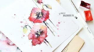 Рисуем маки акварелью / Flowers watercolor paint