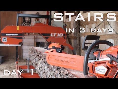 DIY wooden stairs - DAY 1, sawmill pine log, woodmizer