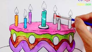 Tô màu bánh sinh nhật  - Hướng dẫn tô màu bánh sinh nhật- Coloring birthday cake