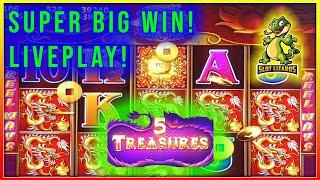 **5 TREASURES SLOT** Better than Jackpot Handpay Session! $100 with $5.28 Bets Huge Bonus Wins!