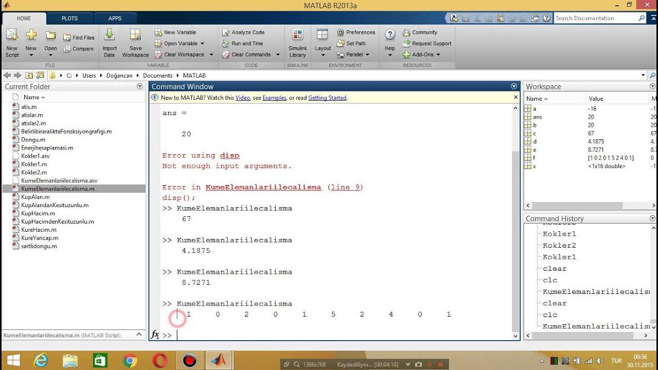 Matlab Ders 2 | Hesaplama Komutları | min | max | sum | mean | std | hist |  roots | poly |2015