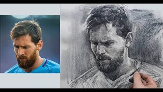 Download lagu Lionel Messi Portrait Drawing in Charcoal Pencil