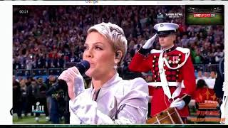 USA Super Bowl 2018 P!nk Belts Out the National Anthem