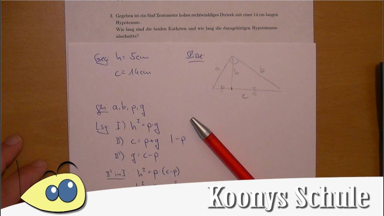 Aufgabe 3 - rechtwinkliges Dreieck, Höhe, Hypotenuse - Arbeitsblatt ...