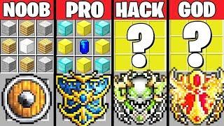 Minecraft Battle: SUPER SHIELD CRAFTING CHALLENGE - NOOB vs PRO vs HACKER vs GOD ~ Animation