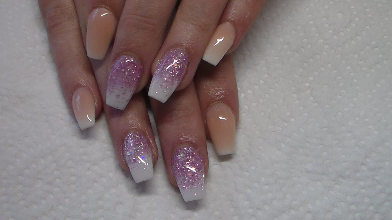 acrylic nail pink and white ombre youtube