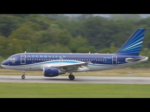 [FullHD] Azerbaijan Airbus A319 landing, taxi & takeoff at Geneva/GVA/LSGG