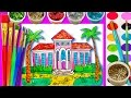 how to draw and paint barbie dream house with water color teaching drawing for kids