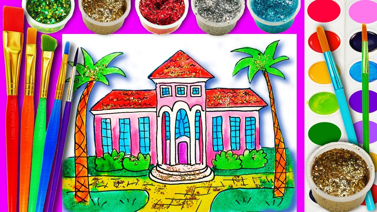 how to draw and paint barbie dream house with water color teaching drawing for kids - Kinder Kid Competition