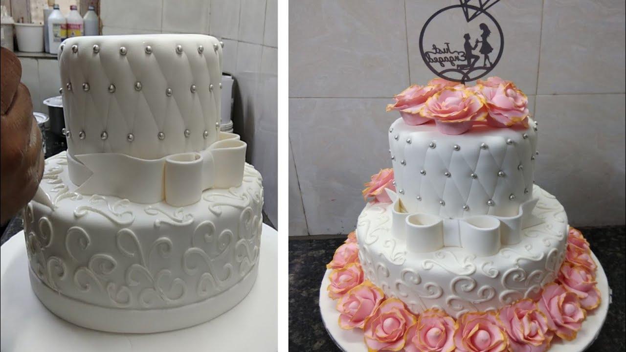 Two Tire Engagement Cake Design Fondant Cake Design |Engagement Flowers Cake Decorating