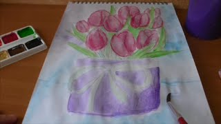 Рисуем тюльпаны. Рисунок в школу: тюльпаны в вазе. / Draw tulips in a vase.(В этом видео я рисую тюльпаны в вазе. Видео без объяснений, поэтому задавайте вопросы в комментариях (на..., 2016-03-31T13:44:02.000Z)