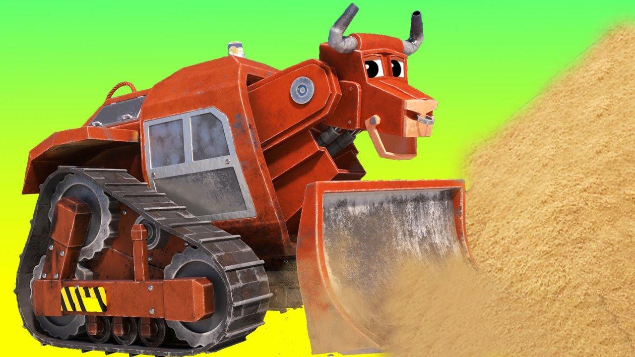 बूल बुलडोज़र  ने   सुनामी  से  रेत  के  महल  को  बचाया - Animals and trucks cartoons in Hindi