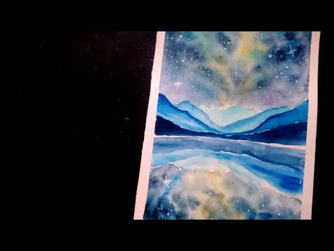 Watercolor galaxy painting tutorial – mountain landscape