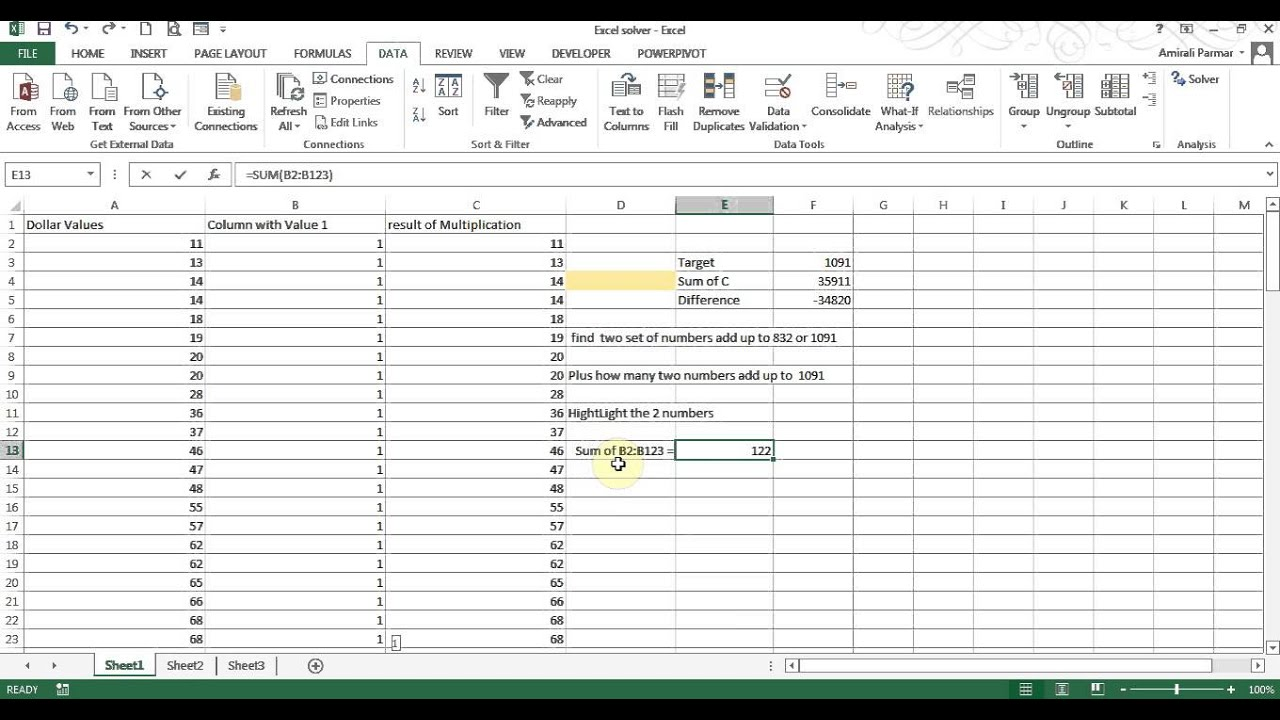 Excel Solver - find 2 numbers that Sum to a value