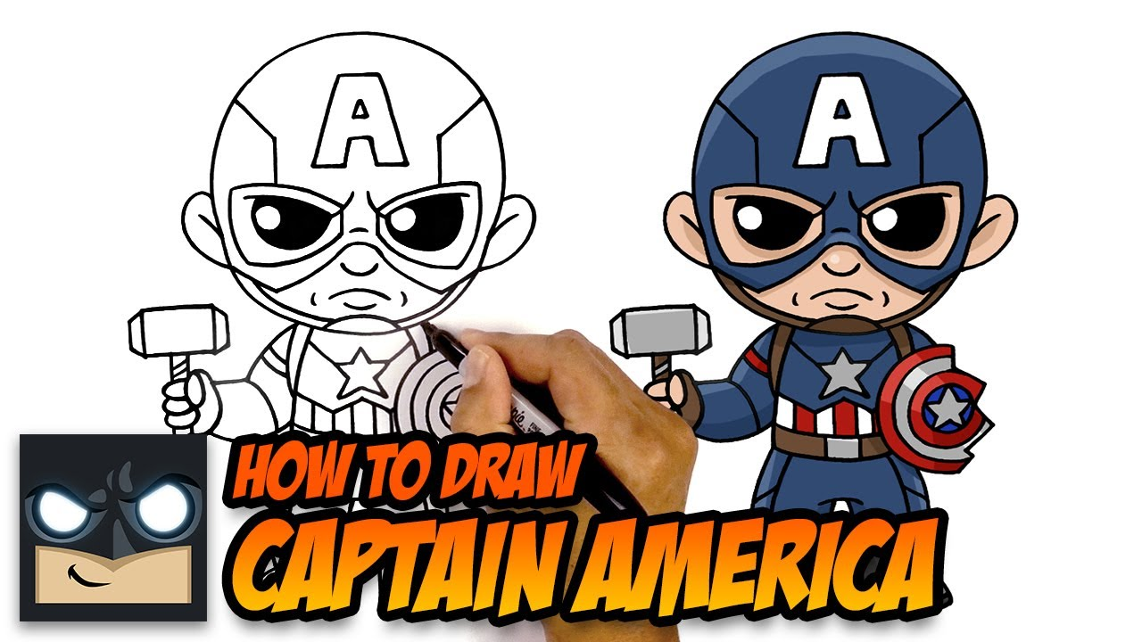 How To Draw Captain America | With Shield and Mjolnir