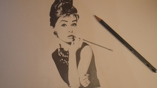 How to draw Audrey Hepburn - drawing timelapse
