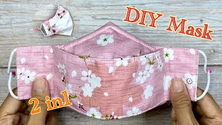 DIY Face Mask 2 in 1 How to make Mask Easy Face Mask Pattern Easy to Breath