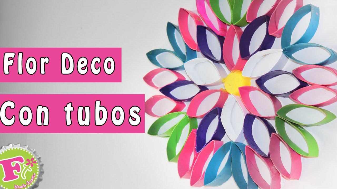 Diy flor deco de tubos de papel decora tu recamara - Decoracion con carton de papel higienico ...