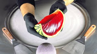 ASMR - Jelly Watermelon Ice Cream Rolls  Melon Food Art - fast &amp aggressive tapping and scratching