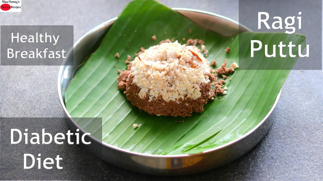 Healthy Diabetic Friendly Ragi Puttu Recipe - Ragi Puttu In Coconut Shell - Finger Millet Puttu