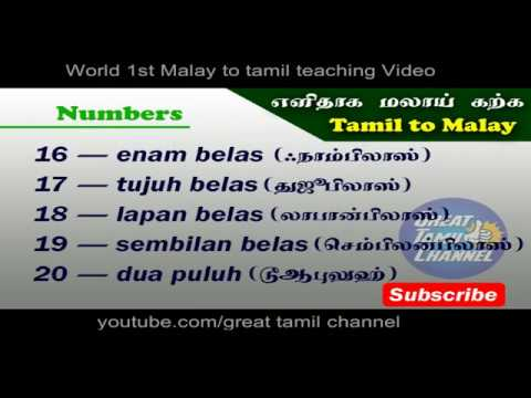 Easy to Learn Malay (TAMIL)- PART 1