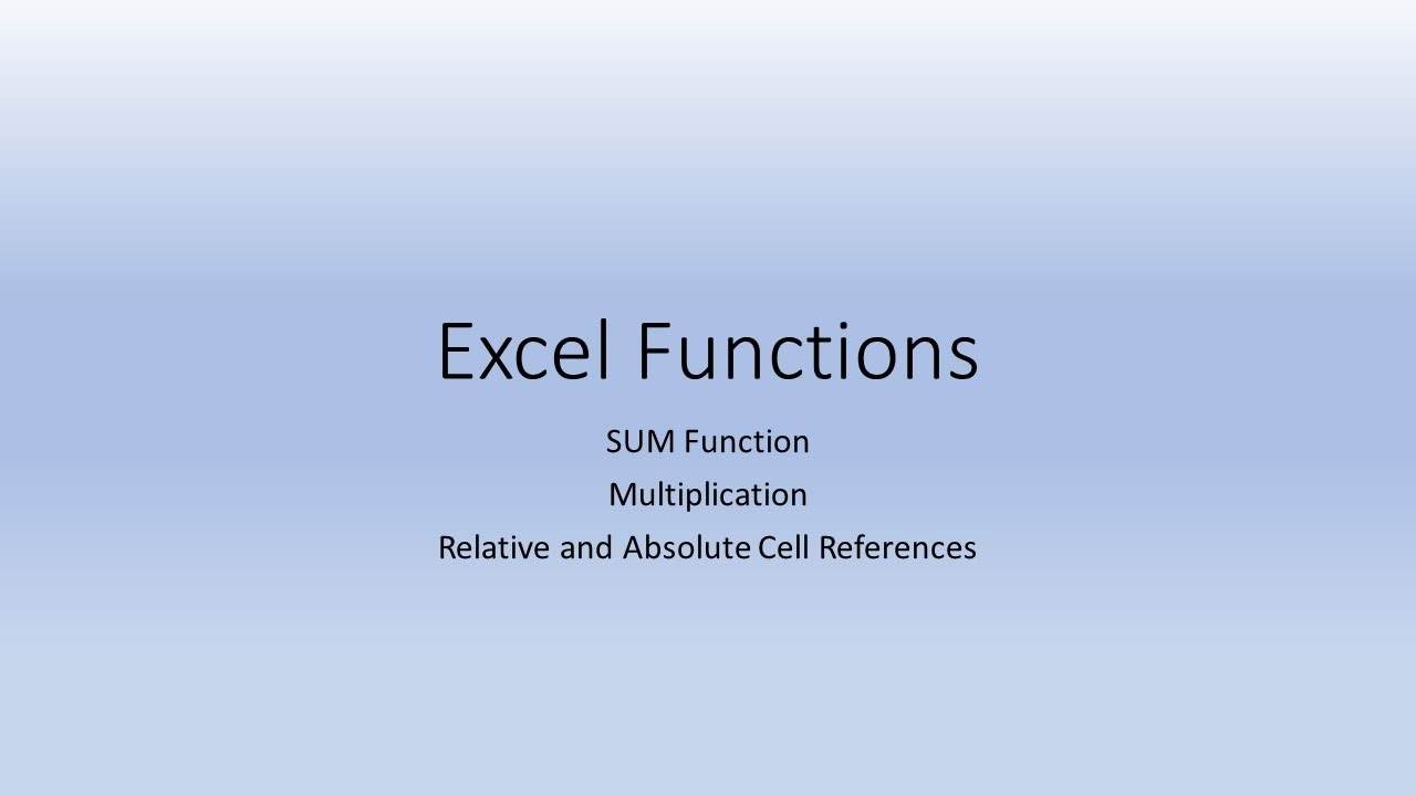 Relative And Absolute Cell References Excel 2016