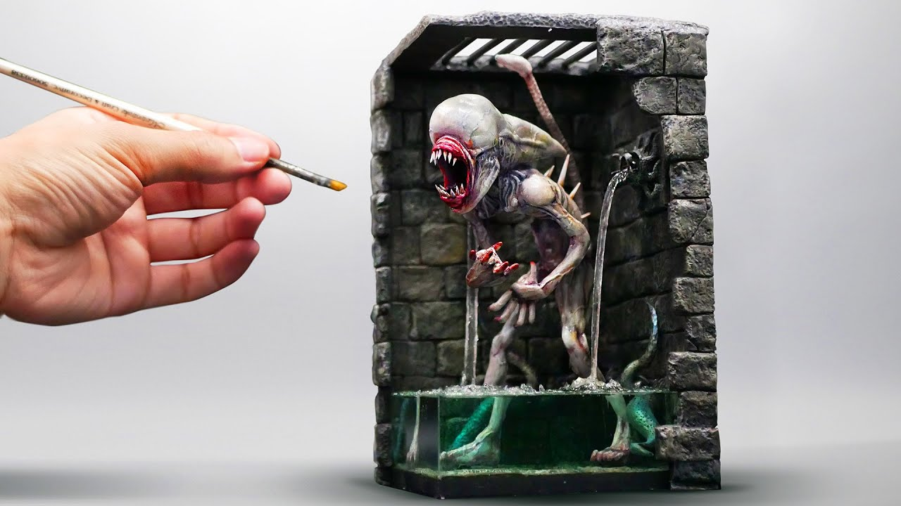 How To Make Alien In Dungeon Diorama / Polymer Clay / Epoxy resin