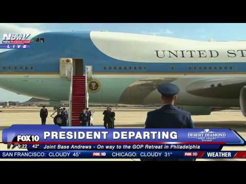 FNN: President Trump Departs On Air Force One For The First Time