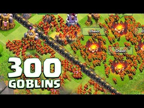 ATACANDO COM 300 GOBLINS NO CLASH OF CLANS