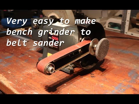 How-to: Bench grinder to belt sander, without special tools.