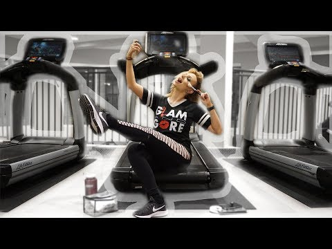 Doing a FULL FACE of Glam On A TREADMILL