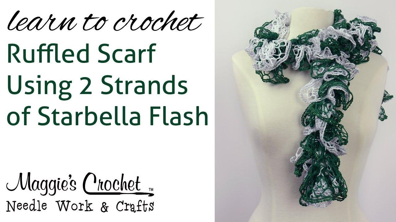 Crochet ruffled scarf using 2 strands of starbella flash youtube crochet ruffled scarf using 2 strands of starbella flash dt1010fo