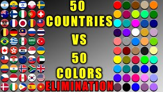 Countries vs Colors Elimination Marble Race in Algodoo #3 \ Marble Race King
